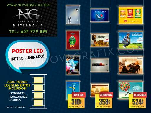 Imagen producto Carteles Colgantes Iluminados y  poster LED retroiluminado  2