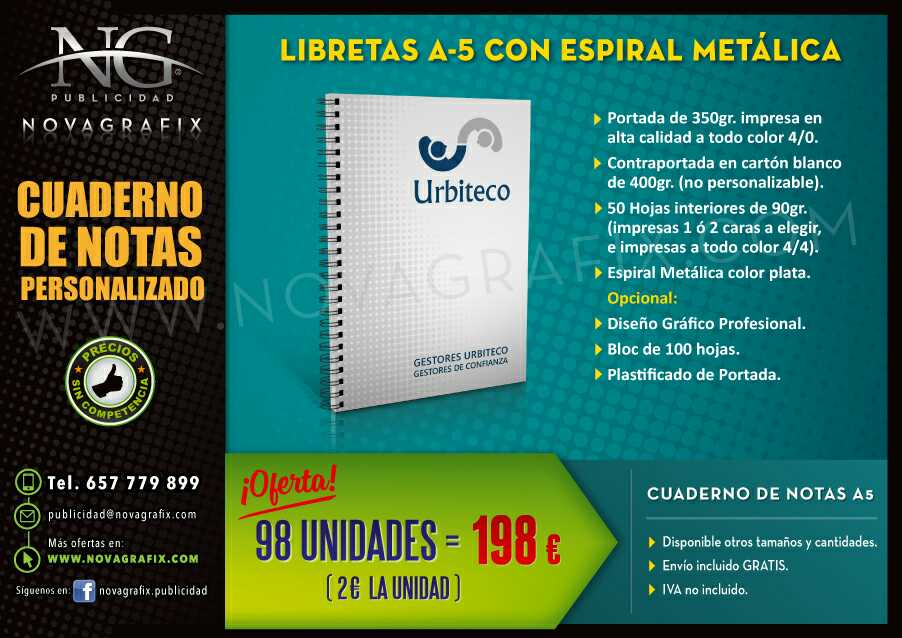 Imagen Cuadernos y bloc de notas personalizado con TU LOGO empresa
