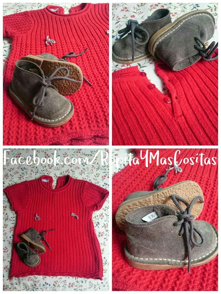 Imagen Vestido punto rojo y botas grises
