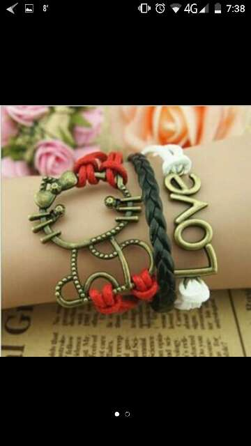 Imagen pulsera brazalete LOVE gato