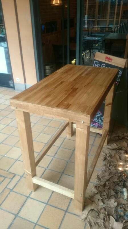 Imagen producto Mesa alta de madera maciza,rustica,vintage,personalizada,a medida,restaurante,cafetería, oficina, cocina,casa 4