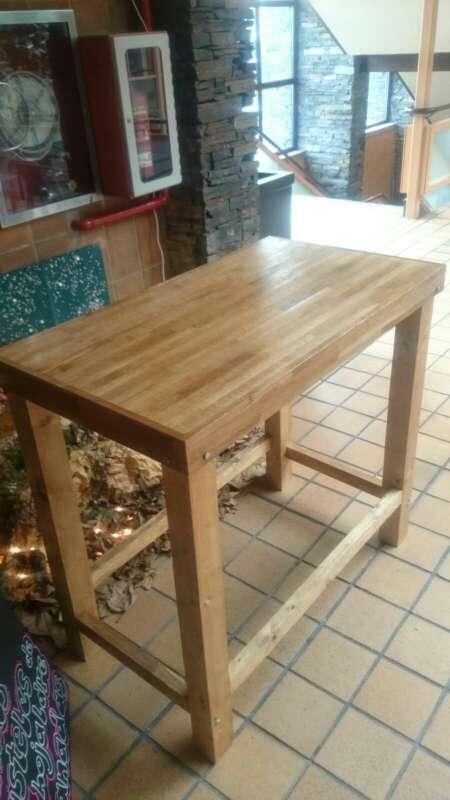 Imagen producto Mesa alta de madera maciza,rustica,vintage,personalizada,a medida,restaurante,cafetería, oficina, cocina,casa 3