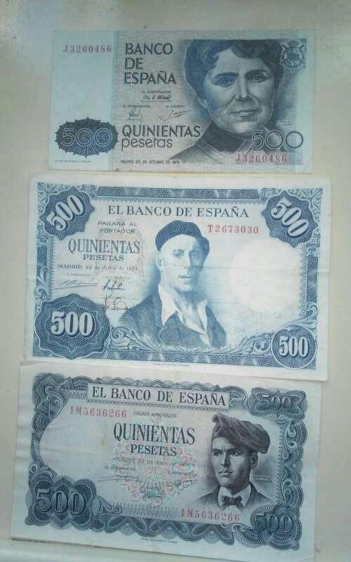 Imagen Billetes de 500 pesetas antiguos