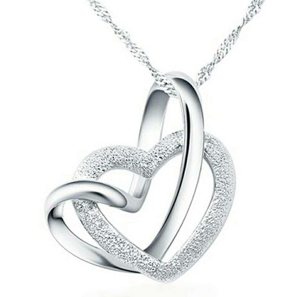 Imagen Doble corazon plata