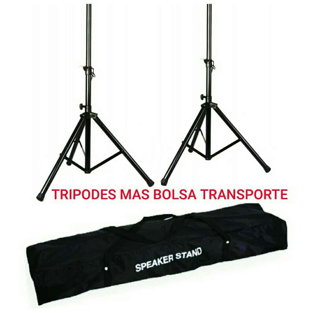Imagen pareja tripode altavoces con bolsa transporte nuevos.