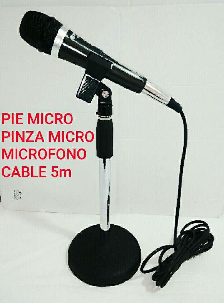 Imagen soporte micro+pinza+microfono+cable nuevo.