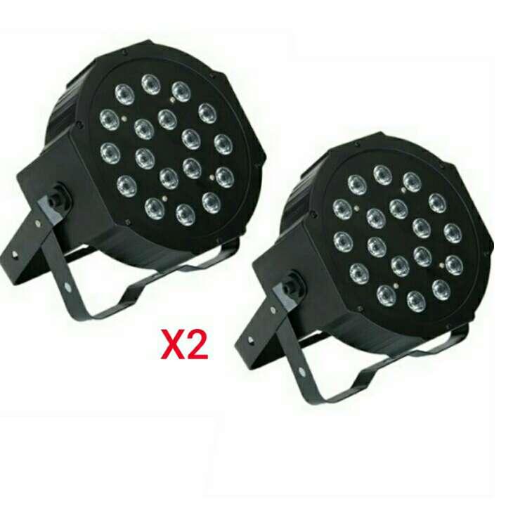 Imagen 2 focos rgb dmx 18 led nuevos.