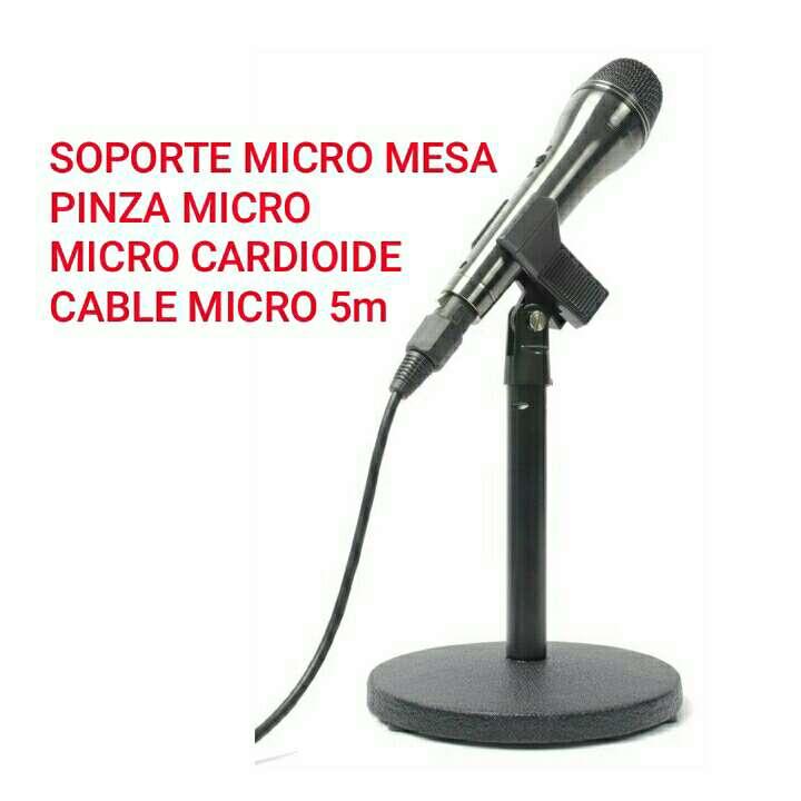 Imagen pie micro MESA+pinza+microfono+cable nuevo.
