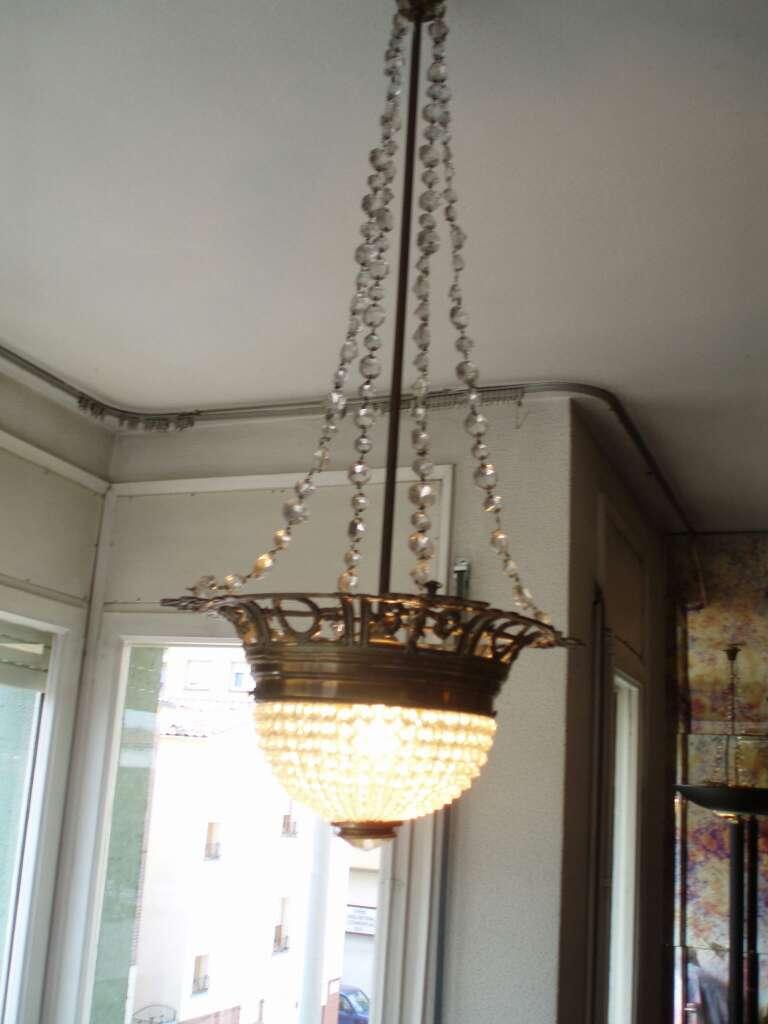 Imagen producto Conjunto de lámparas cristal y bronce 2