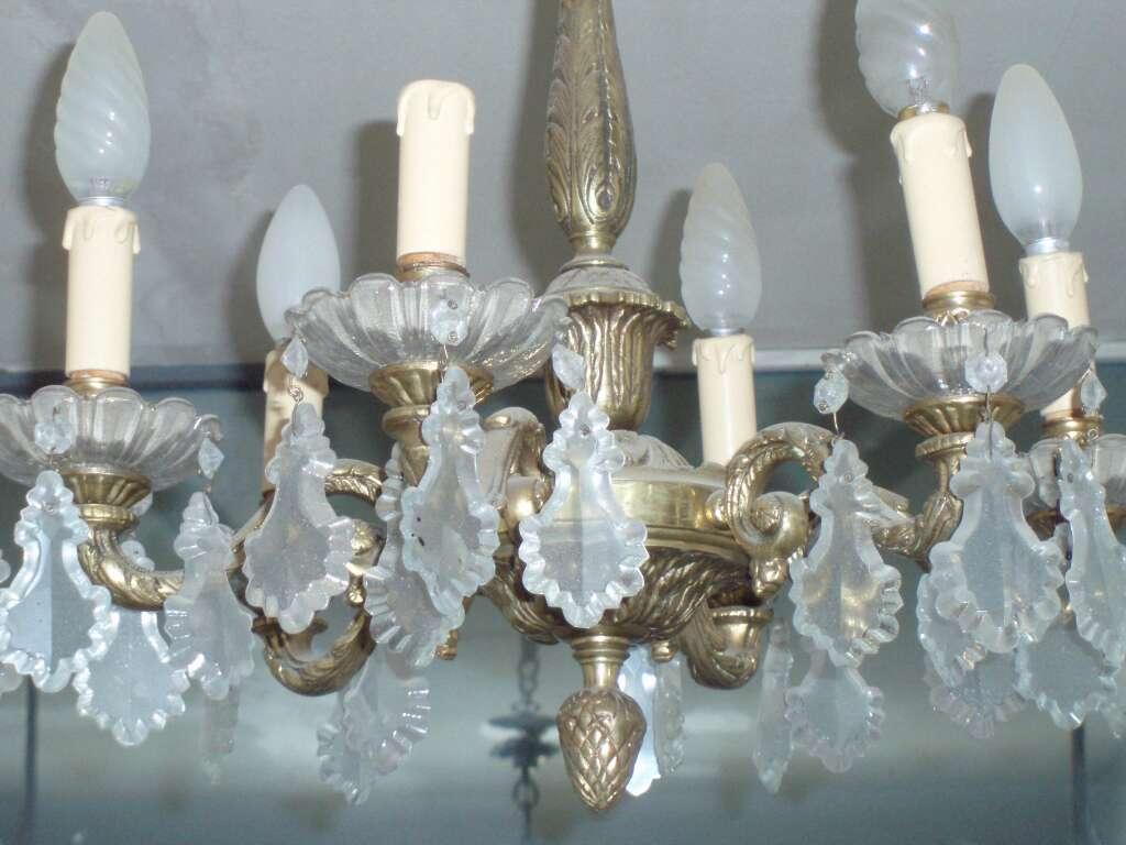 Imagen producto Conjunto de lámparas cristal y bronce 4