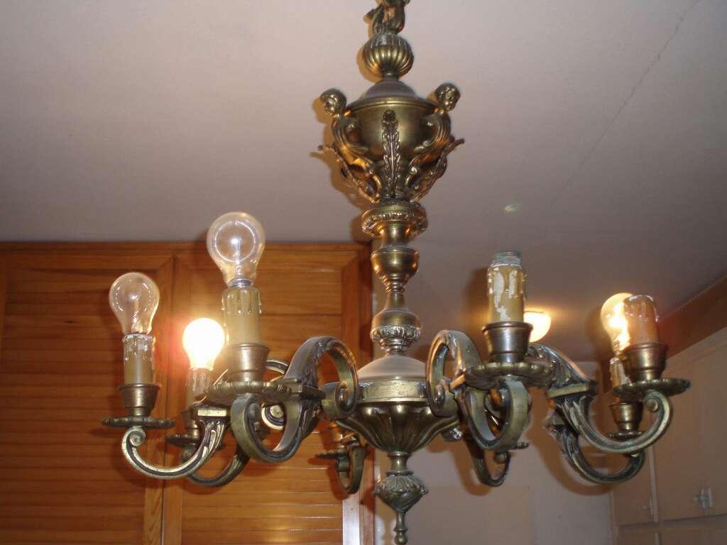 Imagen producto Conjunto de lámparas cristal y bronce 3