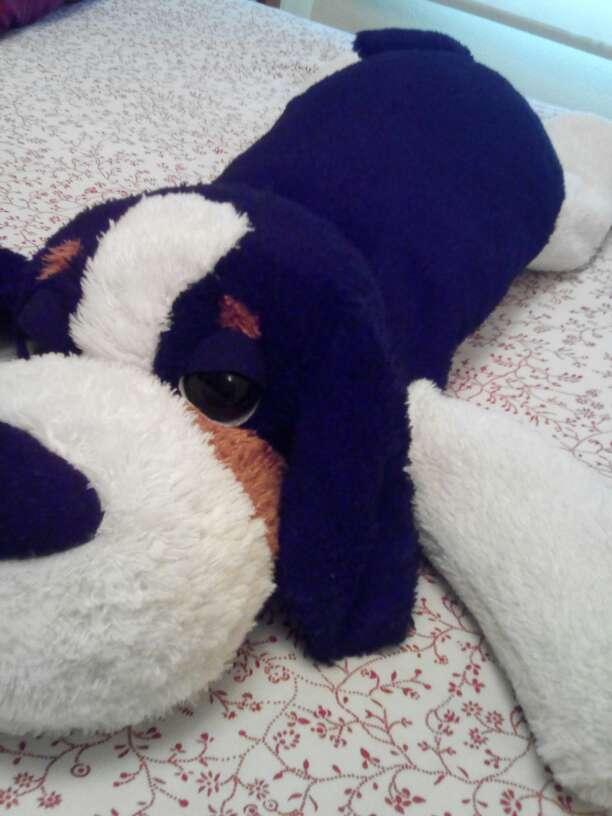 Imagen Peluche perro negro y blanco un metro