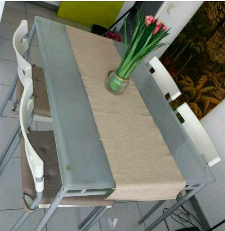 Imagen Mesa comedor cristal + 4 sillas
