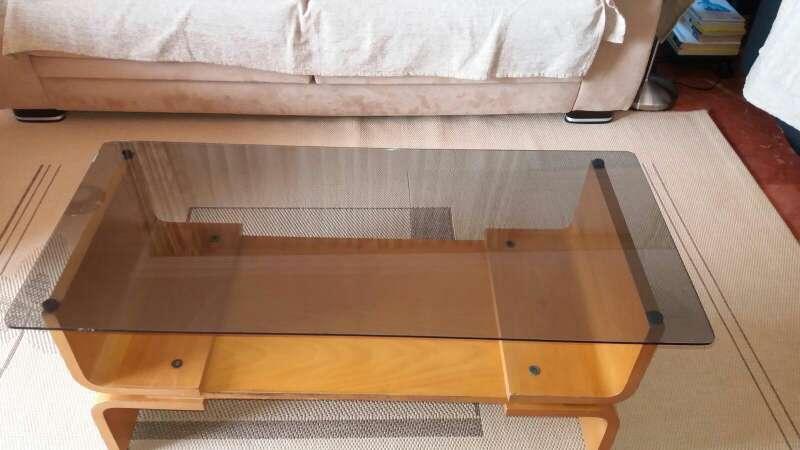 Imagen producto Mesa comedor de madera y cristal sobremesa 55€ 2