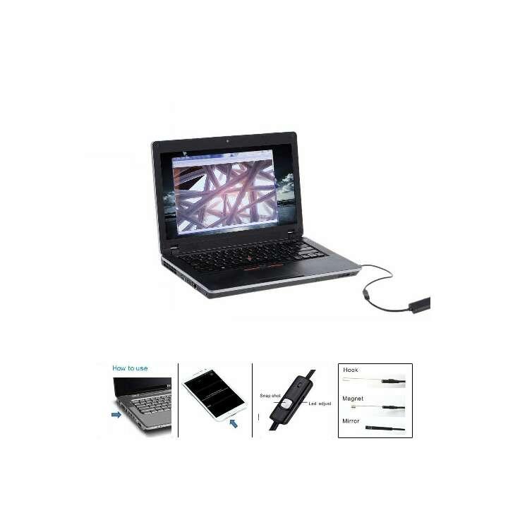 Imagen producto 5.5mm 3.5m Mini Endoscopio USB Digital Cámara de Inspección Brillo Ajustable para Móvil PC 2