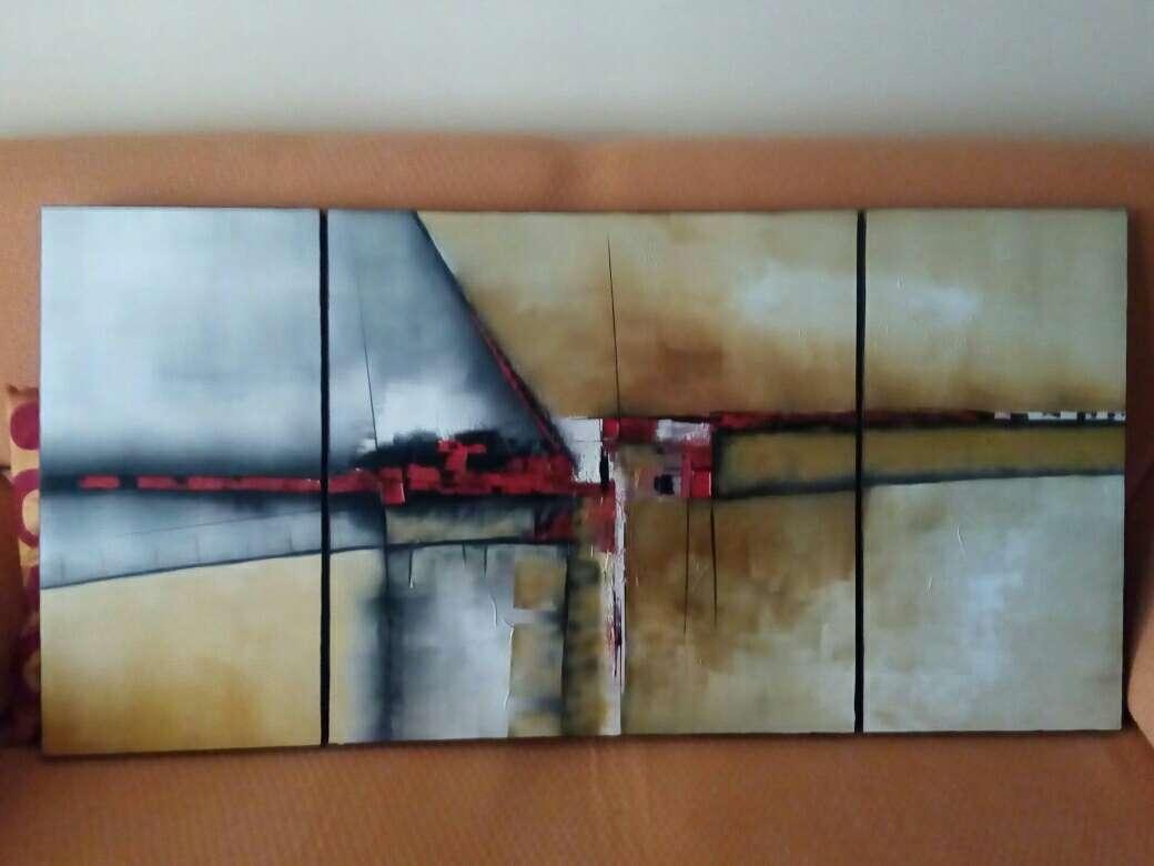 Imagen Cuadro abstracto al óleo lienzo de 3 pieza medidas 122 +060