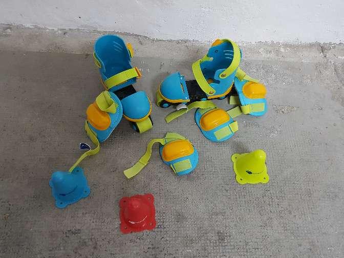 Imagen patines infantiles extensibles con rodilleras y coderas imaginarium