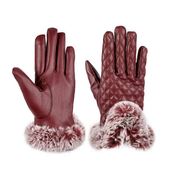 Imagen producto Mujeres Guantes de Invierno Cálido de PU de Felpa Guantes de Cuero de la Pantalla Táctil Guantes de Conducción 2
