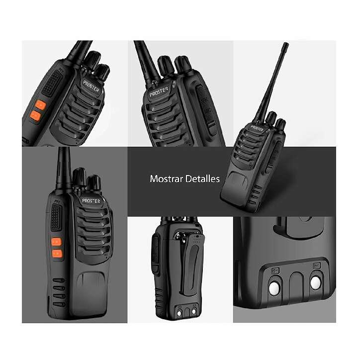 Imagen producto Proster Walkie Talkie Recargable 16 Canales UHF 400-470MHz CTCSS DCS Talkie walkie con el Auricular Incorporado Antorcha de LED y Cargador USB (2 PCS) 3