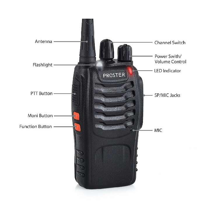 Imagen producto Proster Walkie Talkie Recargable 16 Canales UHF 400-470MHz CTCSS DCS Talkie walkie con el Auricular Incorporado Antorcha de LED y Cargador USB (2 PCS) 2