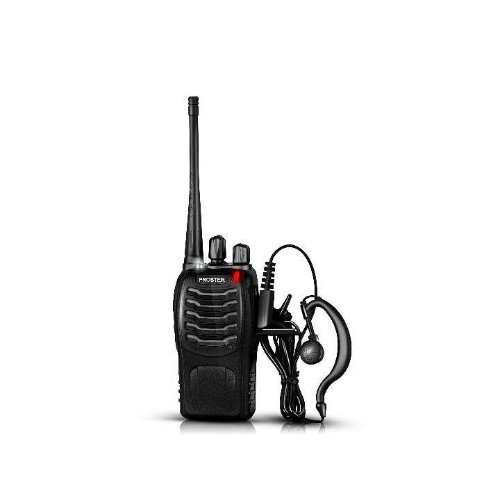 Imagen producto Proster Walkie Talkie Recargable 16 Canales UHF 400-470MHz CTCSS DCS Talkie walkie con el Auricular Incorporado Antorcha de LED y Cargador USB (2 PCS) 4