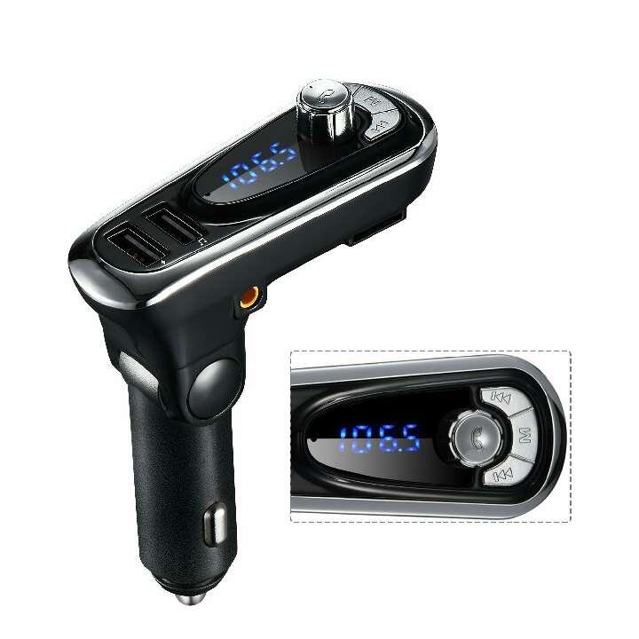 Imagen producto Transmisor FM de VicTsing,Bluetooth Manos Libres Cargador con Audio de 3.5mm Mic Puerto, Ranura para Tarjeta del TF para Coche 1