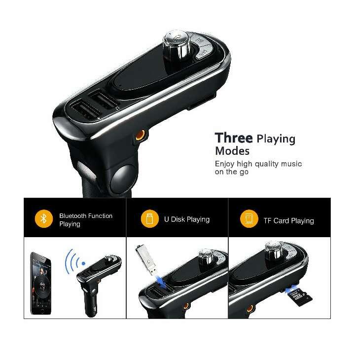 Imagen producto Transmisor FM de VicTsing,Bluetooth Manos Libres Cargador con Audio de 3.5mm Mic Puerto, Ranura para Tarjeta del TF para Coche 2