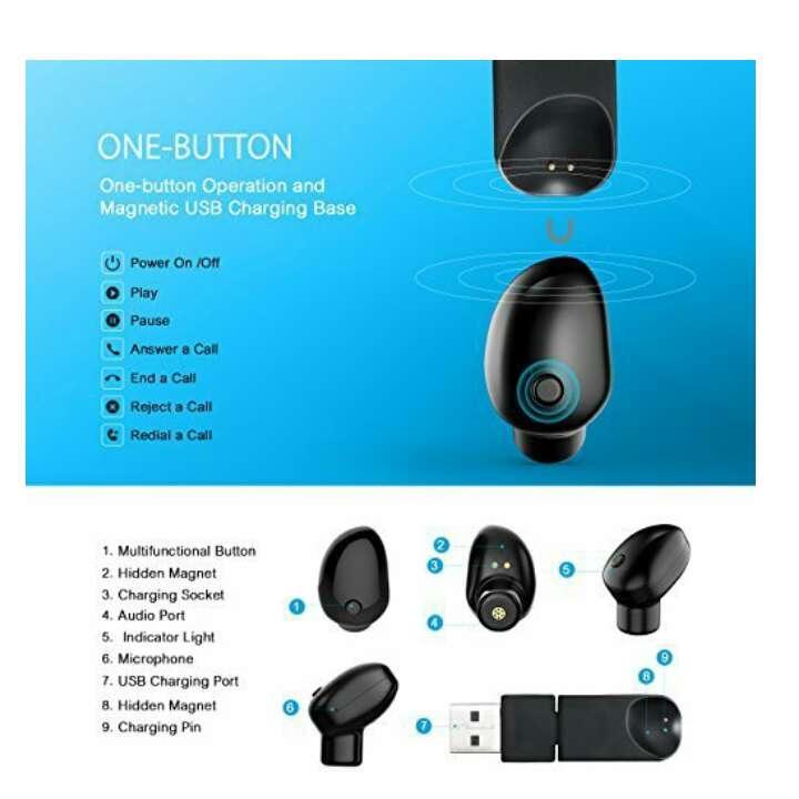 Imagen producto Mini Auricular Bluetooth, VicTsing bluetooth 4.1 inalambricos y EDR, Con Manos Libres y Cancelación de Ruido. Sólo UNA HORA de Carga Completamente Para hacer llamadas en coche y oficina etc 2