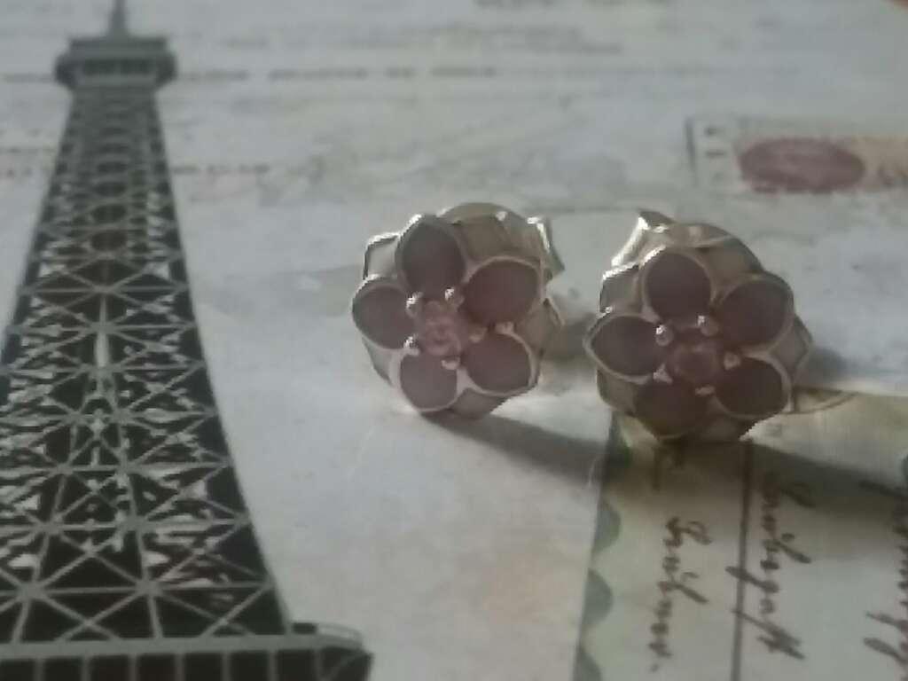 Imagen producto Pendientes de flores rosas y blancas  2