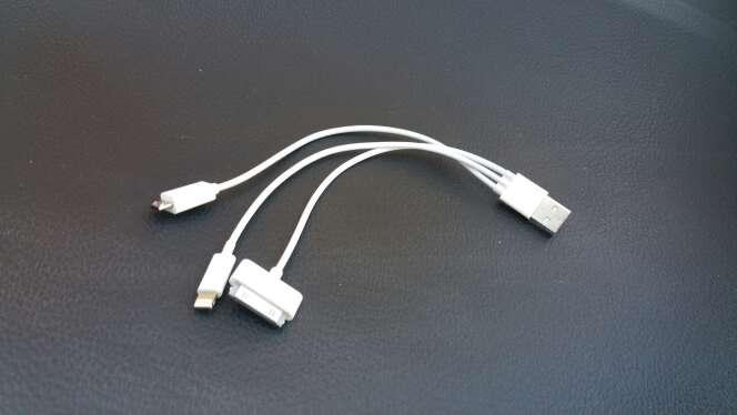 Imagen producto Cable cargador triple USB, iPhone y galaxy tab  2