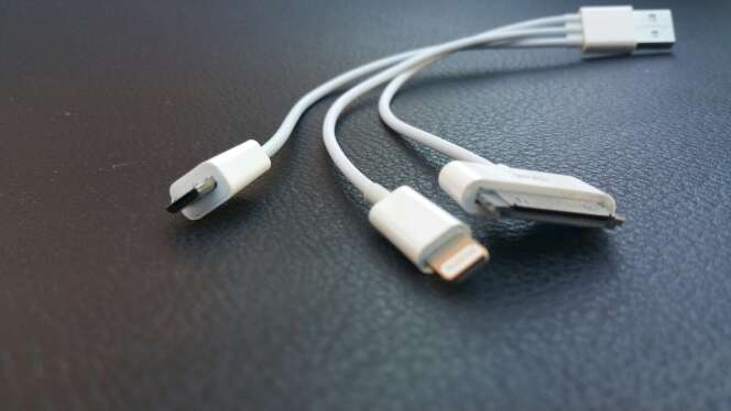 Imagen Cable cargador triple USB, iPhone y galaxy tab