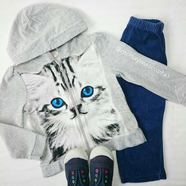 Imagen Chaqueta gris gato zapatillas lona azules