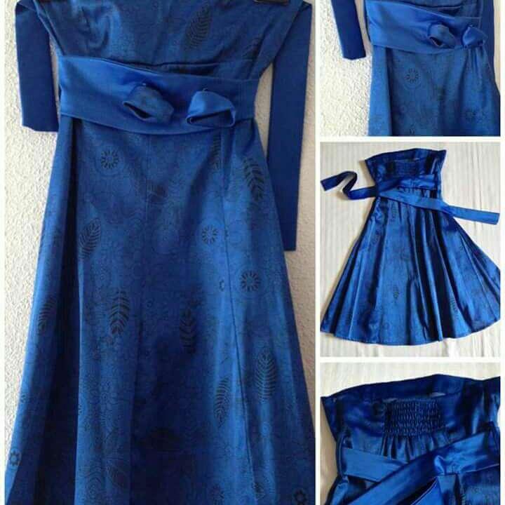 Imagen producto Vestido fiesta azul Royal con flores  4