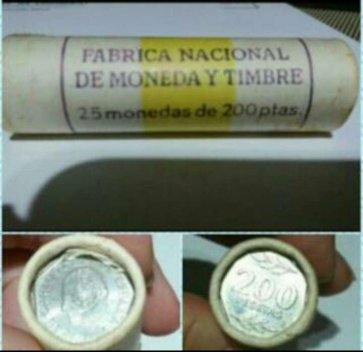 Imagen 25 monedas 200 pesetas .en cartucho. 1986 Rey Juan Carlos