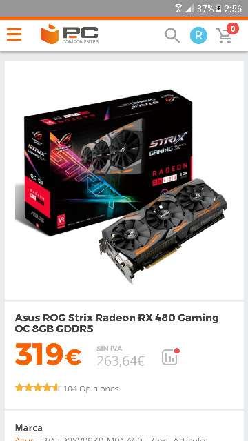 Imagen producto Rx 480 ROG STRIX 8GB OC(Nueva sin estrenar) 1