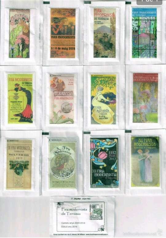 Imagen Colección completa de 12 sobres de azúcar de la Fira Modernista de Terrassa