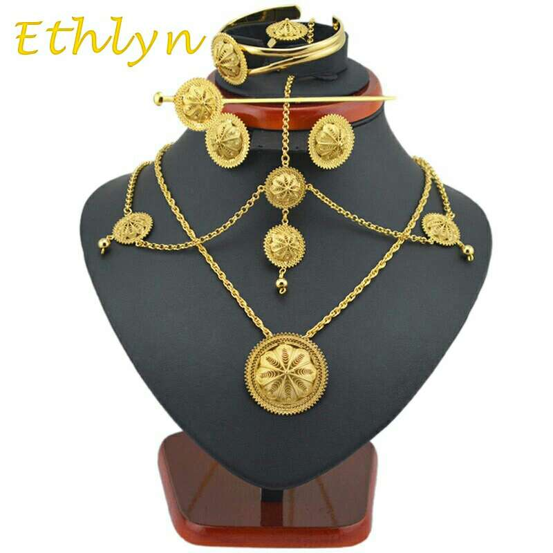 Imagen 6 piece EtEthlyn Best Quailty Ethiopian jewelry sets Gold Color hair jewelry 6pcs sets & African jewelry for Ethiopia best Women gifthiopian Jewelry Set