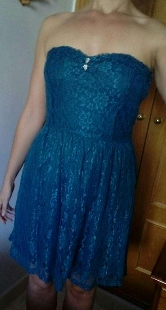 Imagen producto Vestido corto encaje azul talla M 3