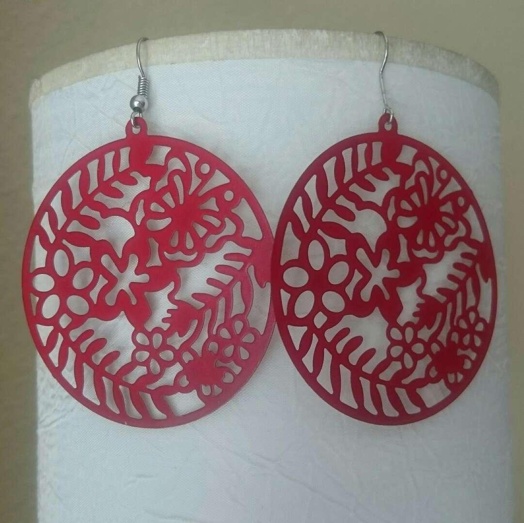 Imagen producto Pendientes grandes rojos  4