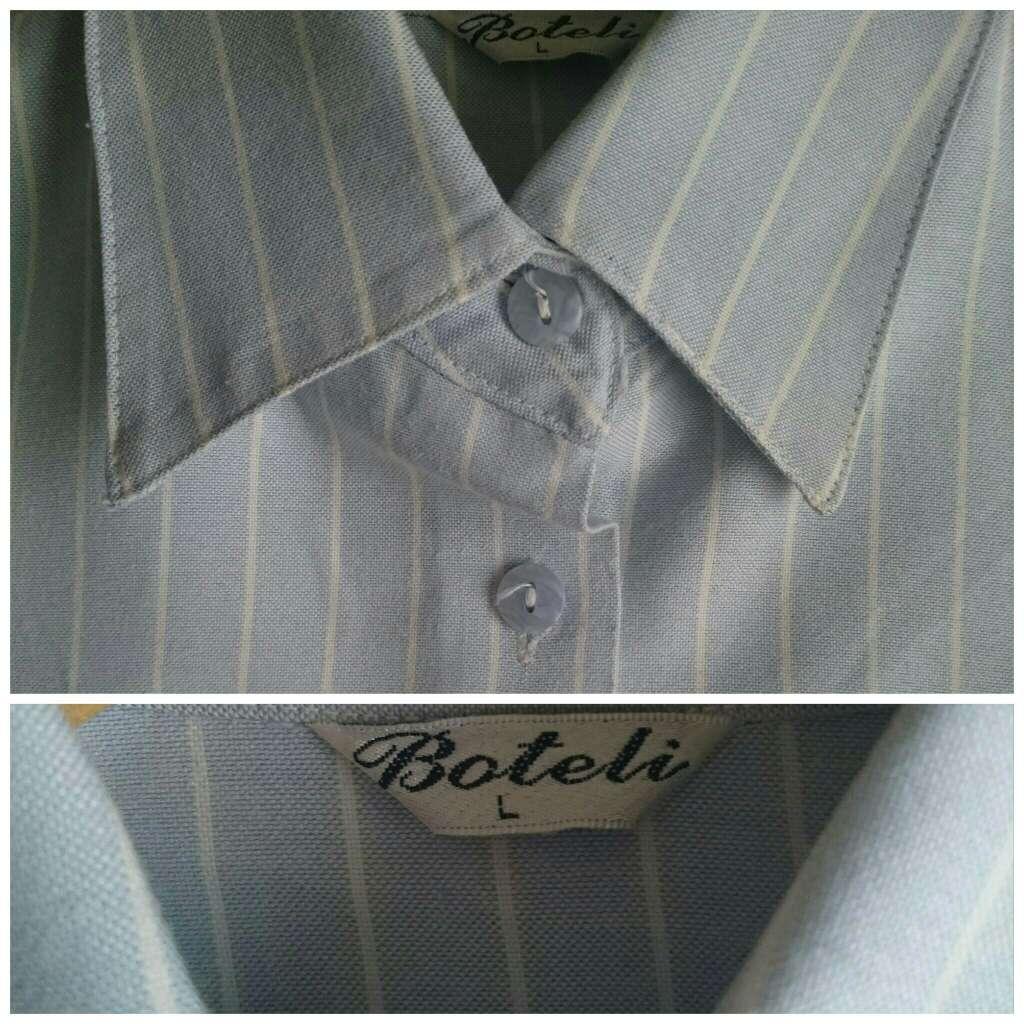 Imagen producto Camisa celeste rayas blancas  3