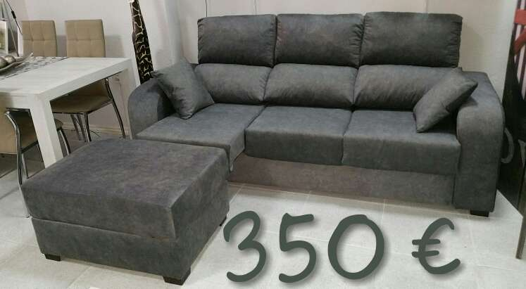 Imagen producto Sofá extraible con pouff antimanchas gris  1