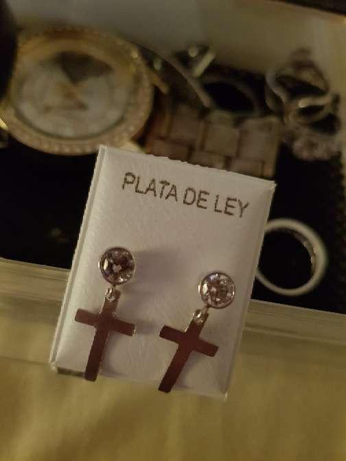 Imagen pendientes de mujer cruz plata de ley 925