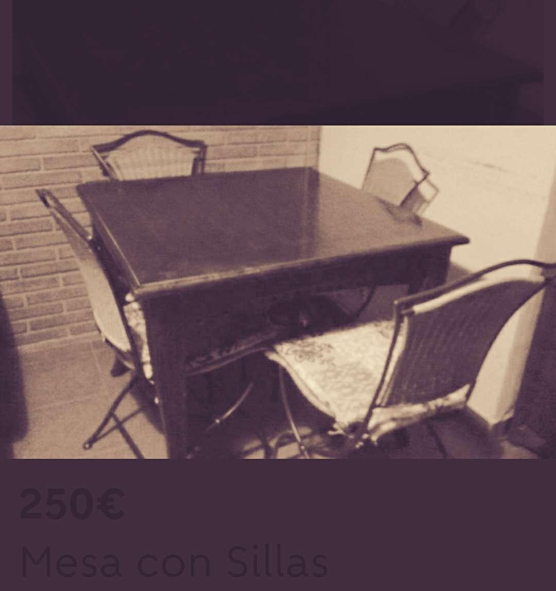 Imagen producto Mesa Teka con sillas de forja 3