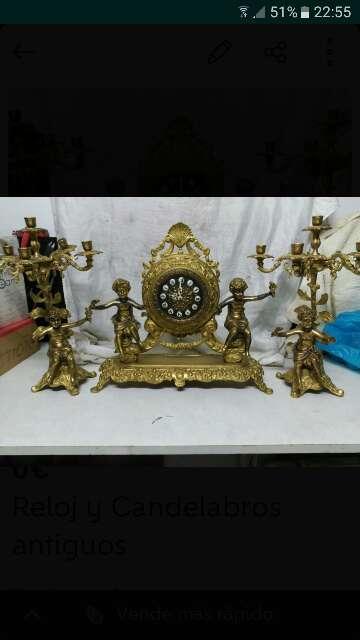 Imagen producto Reloj y candelabros antiguos 1