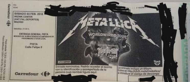 Imagen Entrada Metallica pista, sábado  3 de Febrero en Madrid