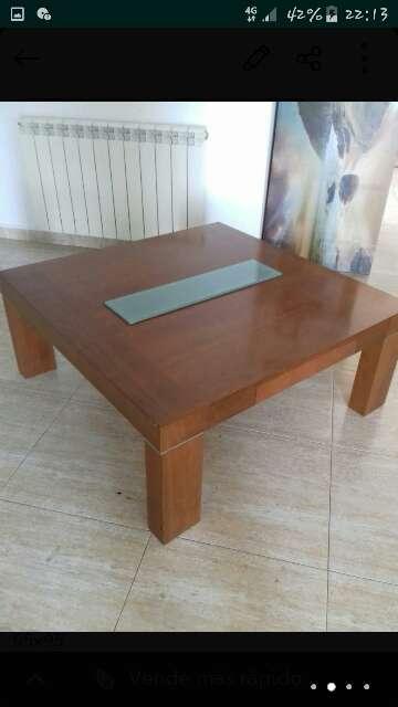 Imagen producto Mesa baja madera maciza con cajon  2