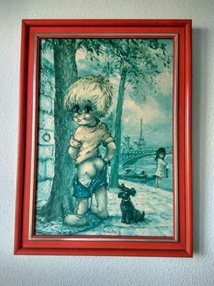 Imagen Cuadro infantil parisino con la Torre Eiffel de fondo.