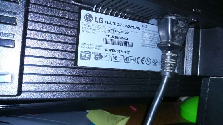 Imagen monitor LG flatron L192WS