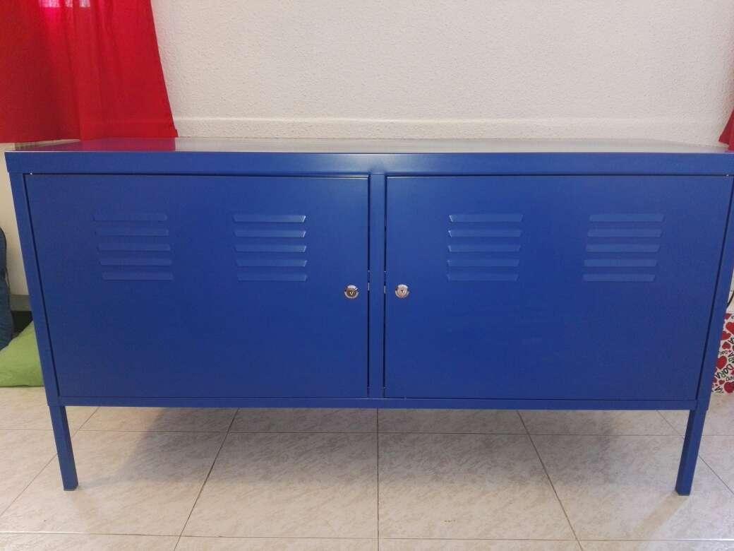 Imagen Mueble mesa TV/armario  azul de metal PS Ikea