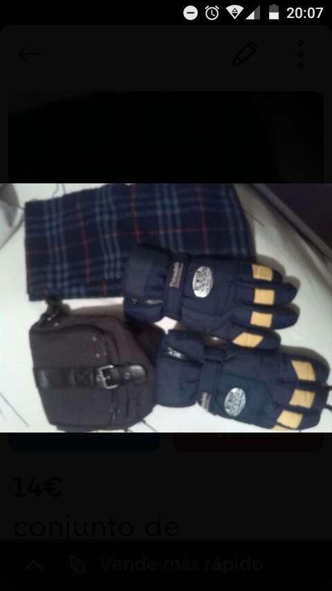 Imagen guantes .bufanda y bolso para hombre